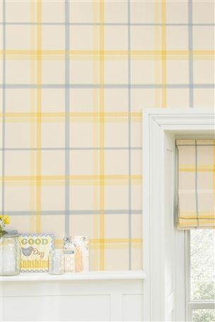 Buy Ochre And Natural Check Wallpaper From The Next Uk Online Shop Striped Wallpaper Wallpaper Butterfly Wallpaper