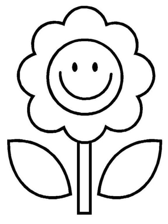 gambar bunga kartun hitam putih - Drawing For Little Kids