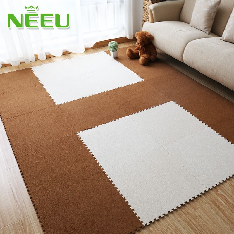 Baby Playing Puzzle Mats Suede Foam Floor Mat Baby Crawling Pad