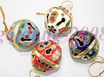 Envío gratis! venta al por mayor lote 10 unid popular chino Cloisonne navidad bolas