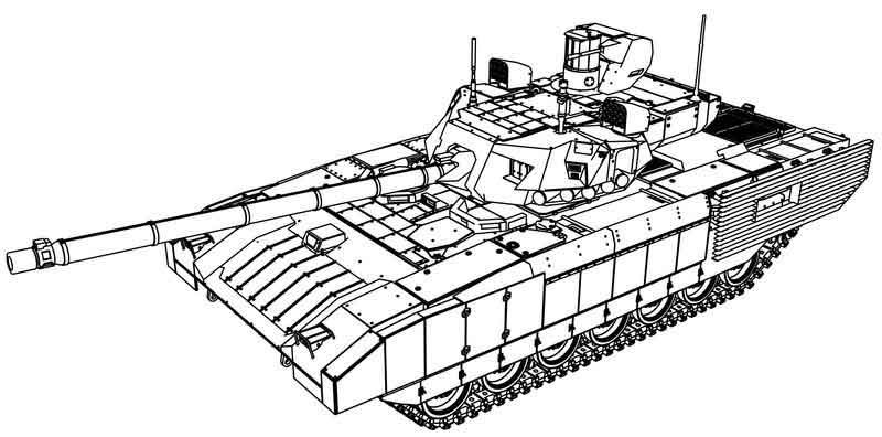 T 14 Armata Tank Perspective View Coloring Page Militer