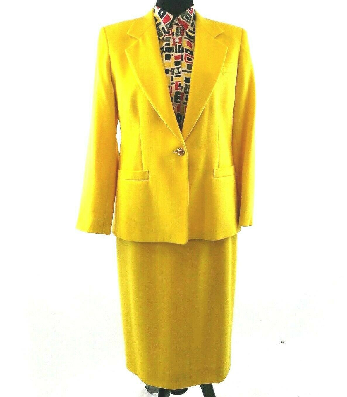 Austin Reed Petite Yellow Skirt Suit Size 10p With Silk Blouse Vtg 80s Yellow Skirt Vintage Clothes Women Skirt Suit