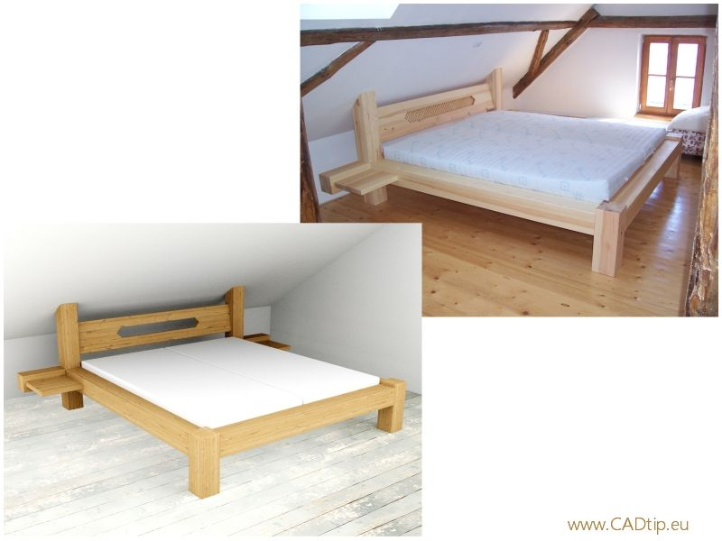 Trámová postel do podkroví.