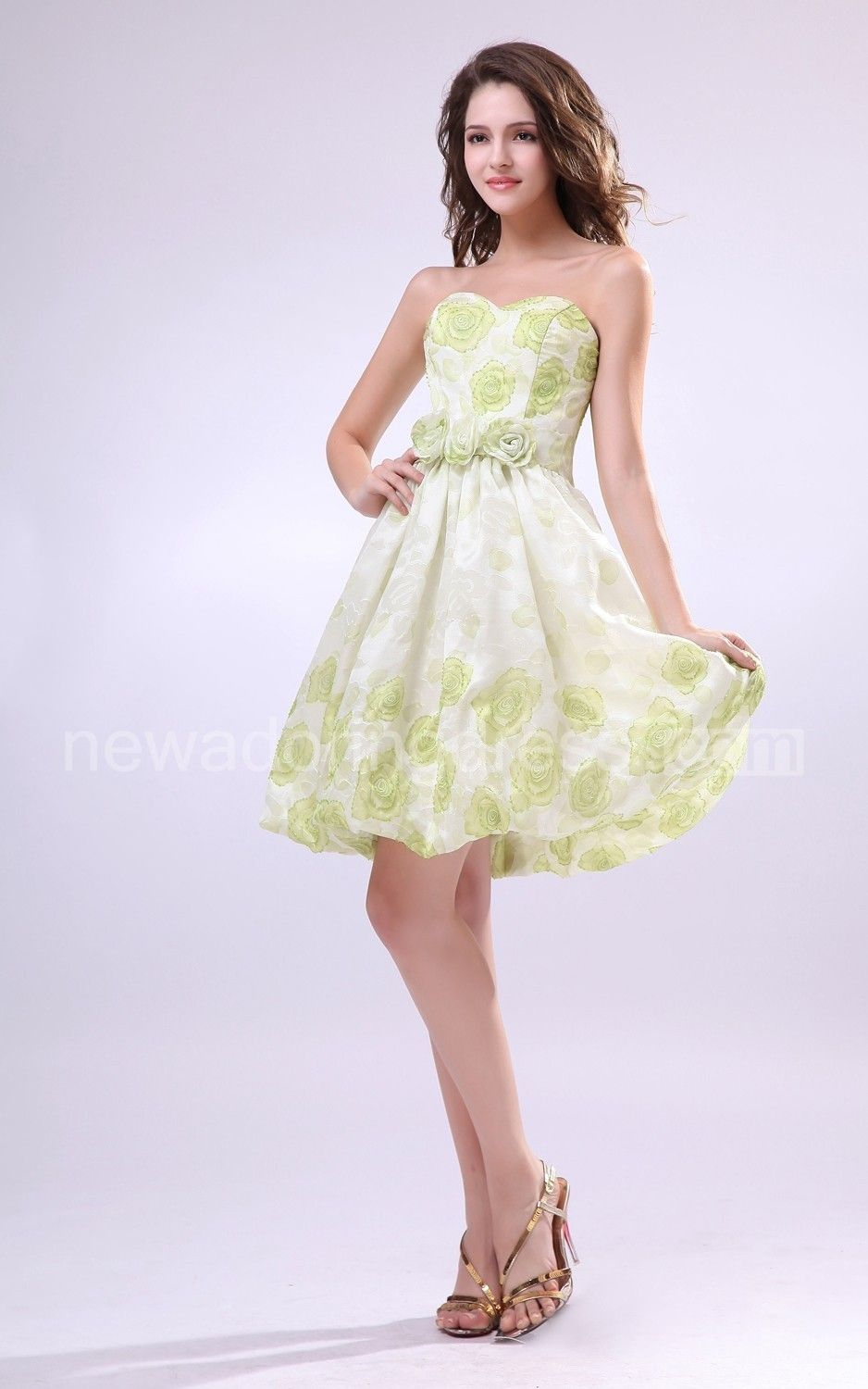 Wonderful Sweetheart Sleeveless Cute Style Dress With Floral Print