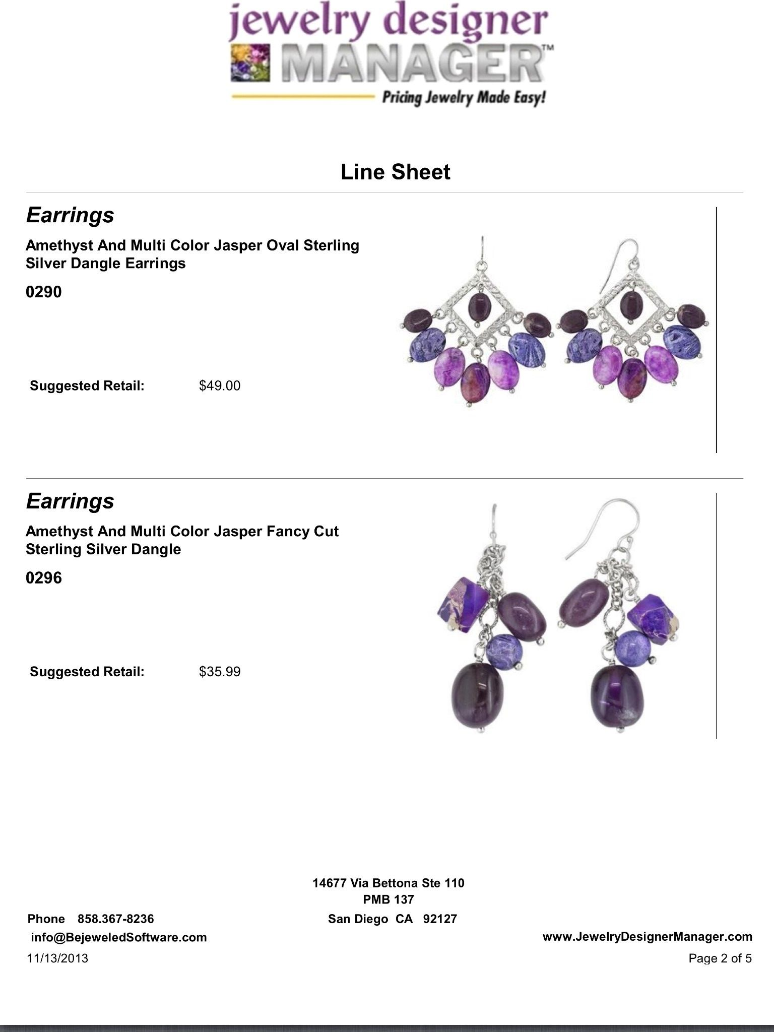 Jewelry Design Software with Line Sheet to help you sell jewelry Be