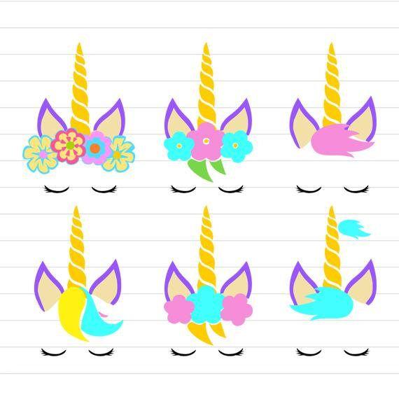 Instant Download Unicorn Svg Unicorn Face Svg Floral Eenhoorn
