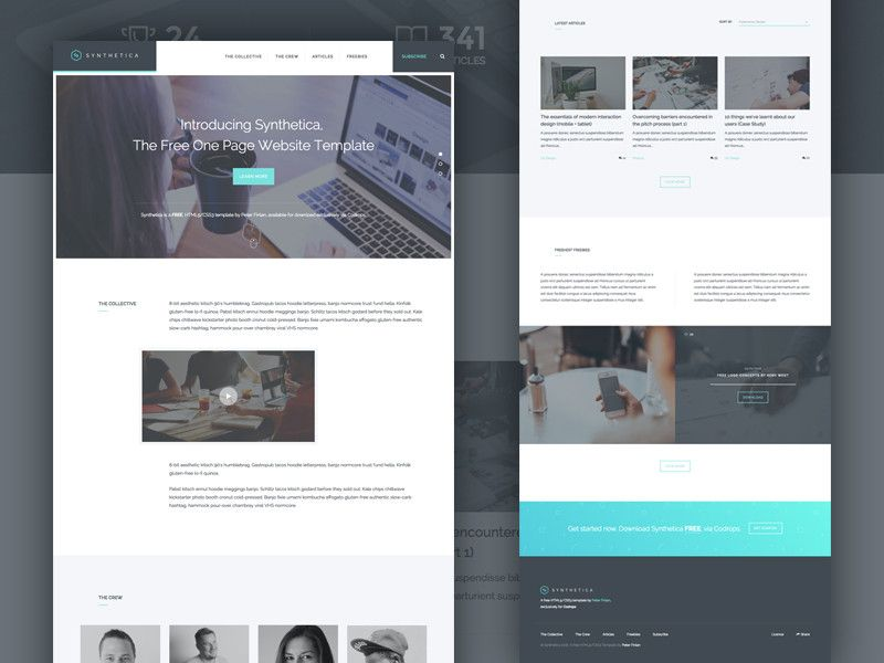 freebies go synthetica one page website template html sketch