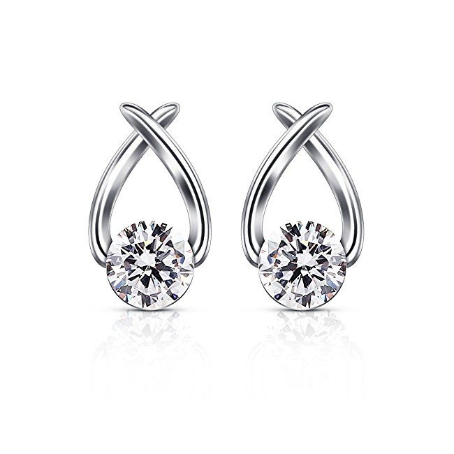 Lily Jewelry Ladies Fashion Elegant Silver Plated Austrian Crystal Drop Earings for Women 8x8v1