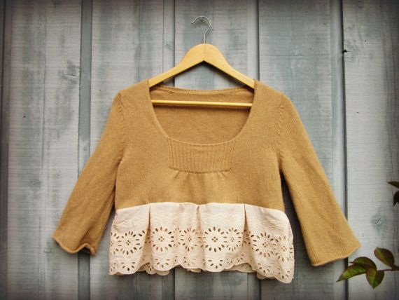 Cotton Eyelet Cropped Camel Sweater// Large// Eco by emmevielle, $63.00
