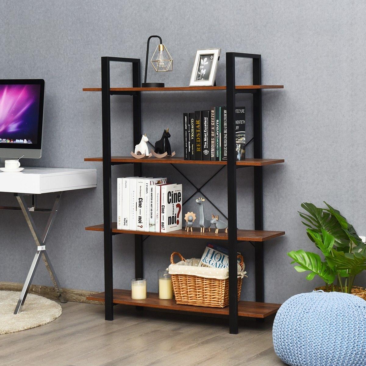 4 Tiers Bookshelf Industrial Bookcases Metal Frame Shelf Stand Frame Shelf Shelves Industrial Bookcases