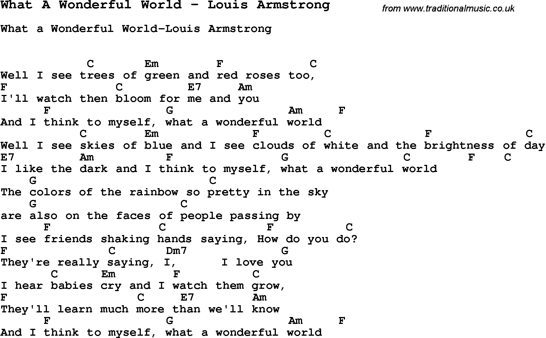 Song What A Wonderful World by Louis Armstrong, with lyrics for ...