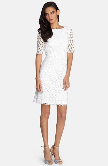 036ab3f94f Tahari Sheer Sleeve Lace Shift Dress (Regular   Petite)