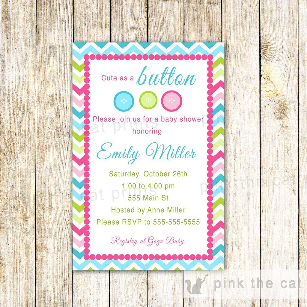 Cute Button Invitation Baby Shower Girl Boy | things I love ...