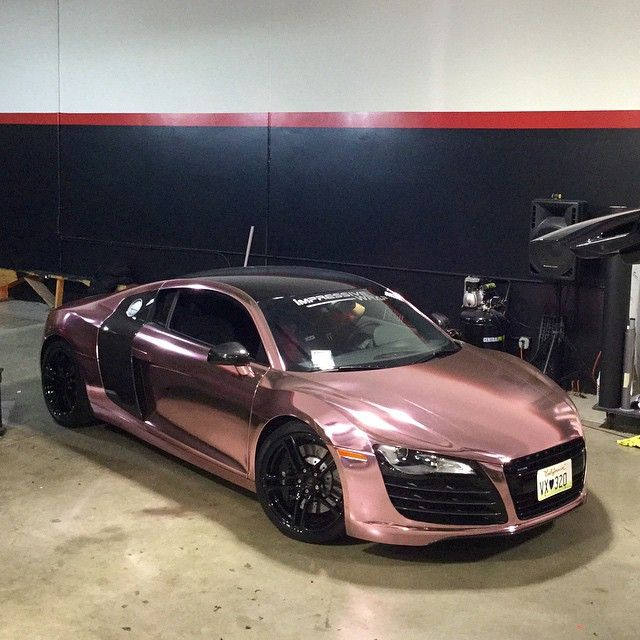 audi r8 wrapped in rose gold chrome and wheels powder coated in black looking good get your. Black Bedroom Furniture Sets. Home Design Ideas