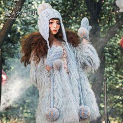魔法大布娃娃韩国秋冬女款韩版潮季毛球英伦画家蓓蕾护耳毛线帽子