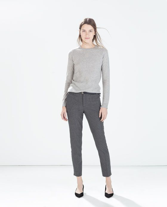 91fc9ad6 PINSTRIPE TROUSERS WITH BELT from Zara | Fashion in 2019 | Trousers ...