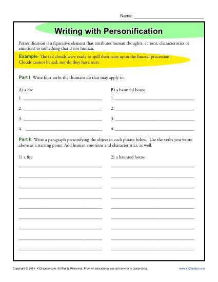 Writing With Personification Figurative Language Worksheets Personification Worksheet Kindergarten Worksheets Sight Words Language Worksheets Personification worksheets 6th grade