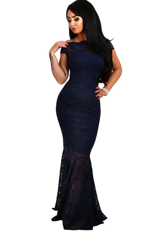 72ce6ff7fd51d Mode Off The Shoulder Mermaid Navy Blue Lace Formal Dress