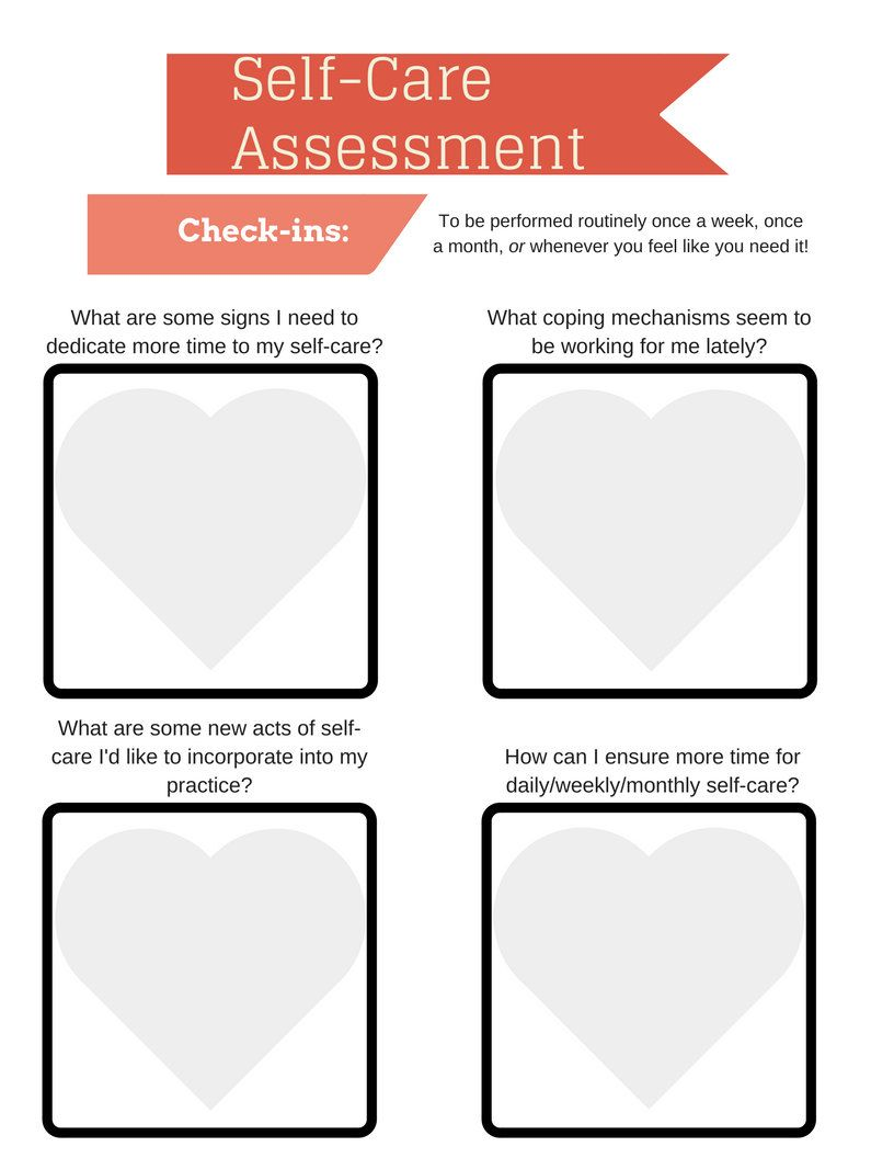 SelfCare Assessment Worksheet Printable  Instant Download