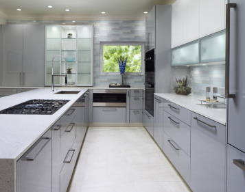 Contemporary Kitchen In Grey High Gloss Lacquer By Jay Rambo Cabinets In Tulsa Oklahoma Coastal Kitchen Design Modern Kitchen Design Kitchen Design