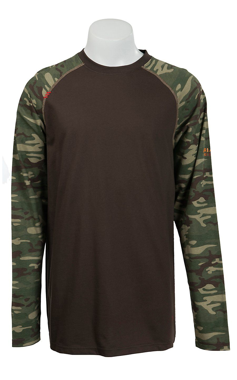 Ariat Work FR Men s Brown   Camo HRC2 Crew Neck Long Sleeve Flame Resistant  Shirt  40d207920