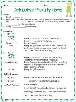 Distributive Property Notes And Coloring Worksheet Distributive Property Classroom Info Color Worksheets