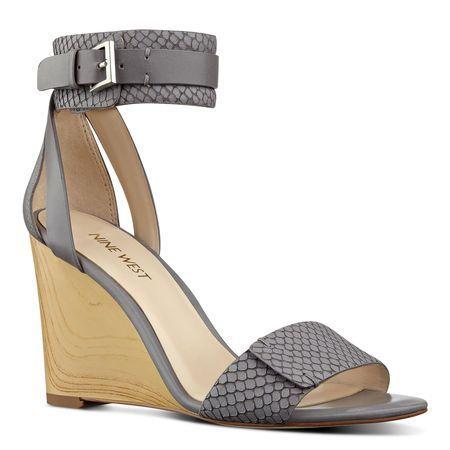 Grey Snakeskin Finula Ankle Strap Wedge Sandals | Nine West