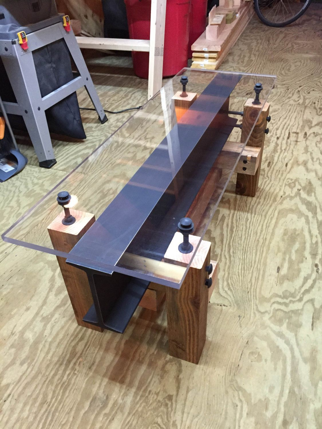 Industrial I Beam Coffee Table Modern Coffee Table Glass Table