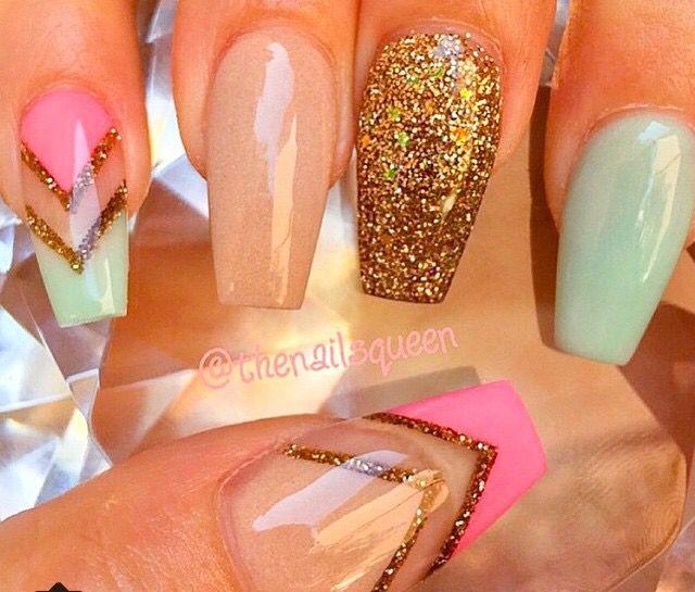 Sparkley and simple | Nails | Pinterest | Uñas menta, Diseños de ...