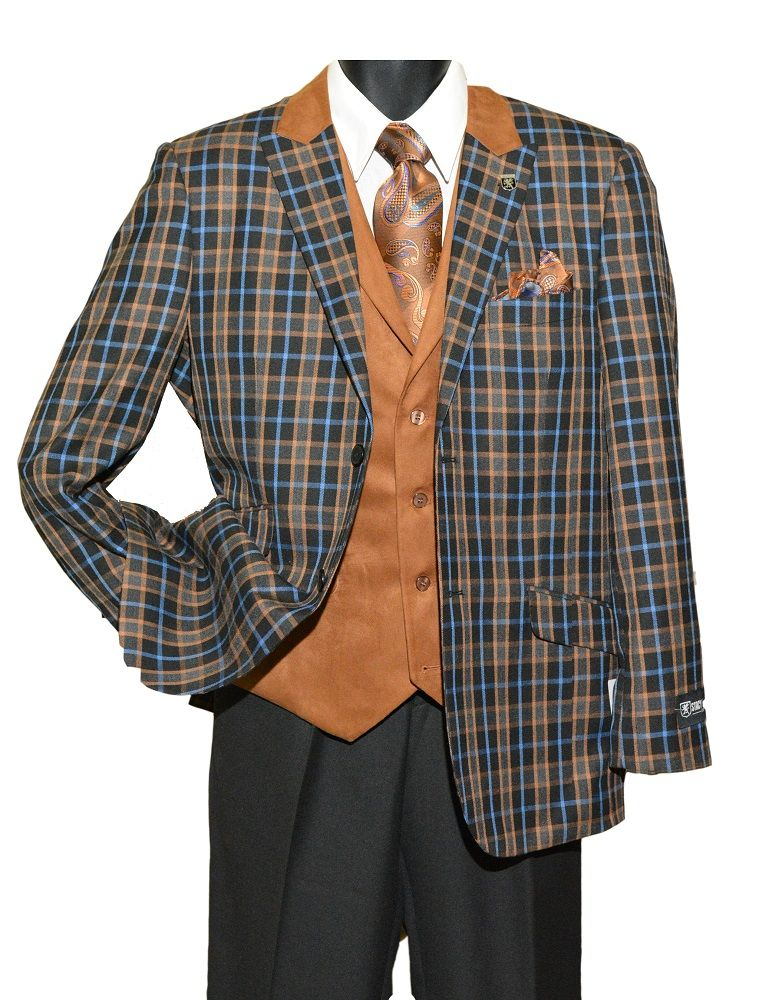 97e538e6 Stacy Adams Mens Black Rust Plaid Heat Vest 3 Piece Suit 5650-100 IS ...