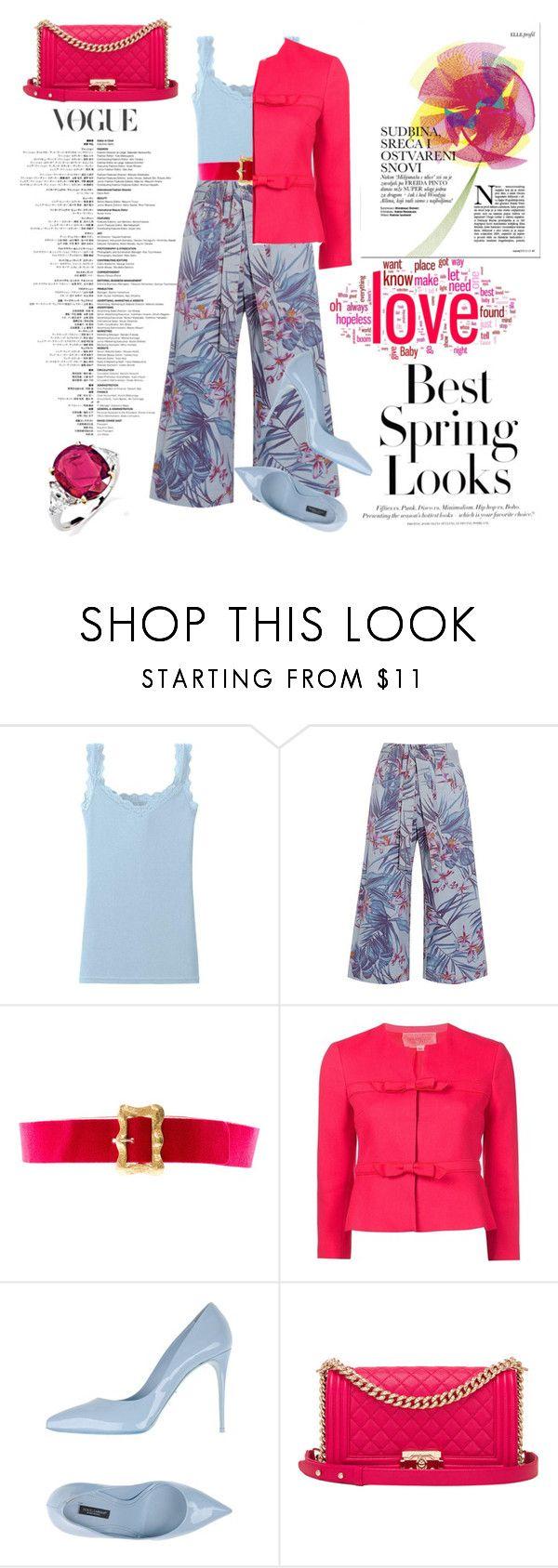 """pinkkk"" by e-memagic ❤ liked on Polyvore featuring H&M, Uniqlo, SUNO New York, Chanel, Giambattista Valli and Dolce&Gabbana"