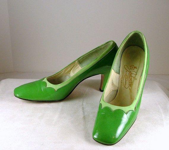 JOHANSEN Lime Green Patent Leather Pumps Heels Suede by KatsCache, $53.95