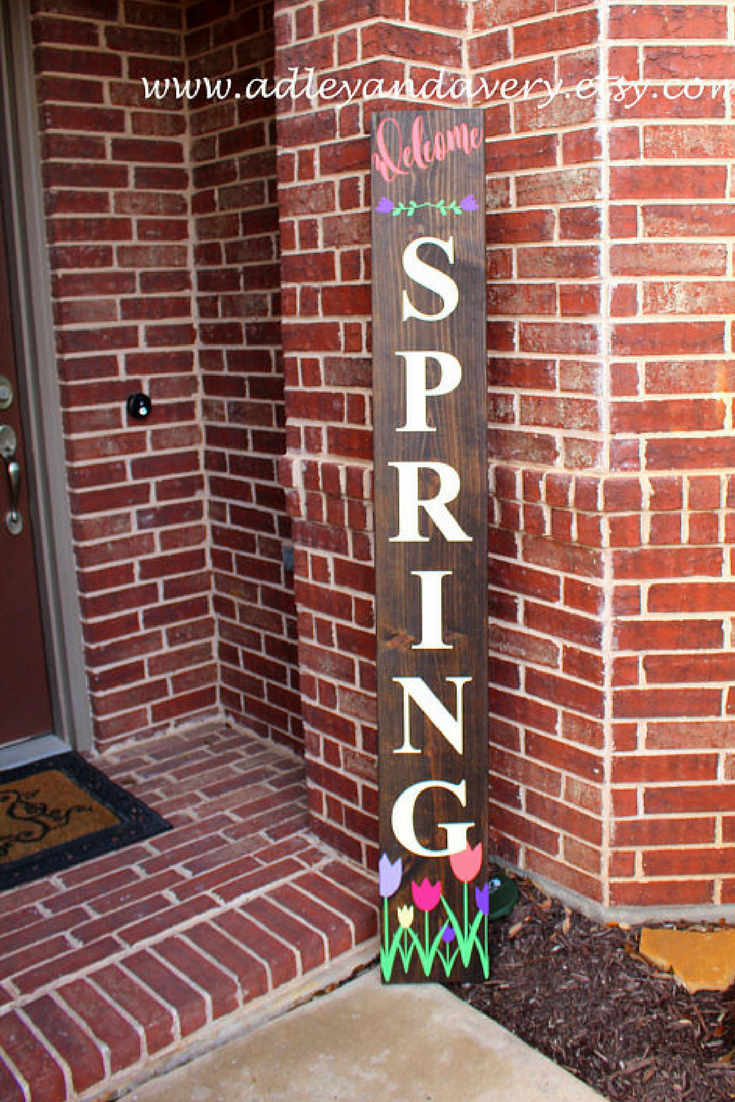 35 Welcome Spring Porch Sign Tall Porch Sign Spring Porch Sign Easter Porch Sign Reversible Sign Customizable Porch Signs Spring Porch Porch Welcome Sign