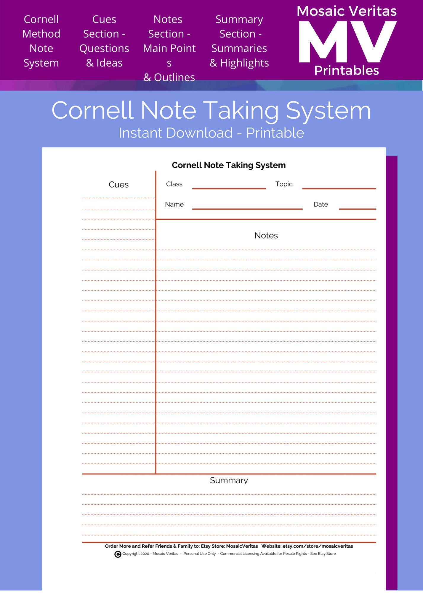 Cornell Note Taking Method Printable Download Notes Page Cornell Notes Template For Cornell Note Ta Cornell Notes Template Notes Template College Notes