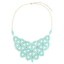 """Add a pop of style to evening ensembles and work outfits alike with this handmade gold-plated necklace, showcasing an eye-catching bib of faceted teal beads.   Product: NecklaceConstruction Material: Zinc alloy and resinColor: TealFeatures:  Adjustable chain length adds up to 3.5"""" Bib-inspired silhouette  Handmade   Dimensions: Chain: 18""""Stones: 4.75"""" H x 7.75"""" WCleaning and Care: Avoid all oils and chemicals (such as lotions, hairspray, makeup and perfumes). Put jewelry on last when ..."""