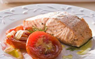 RECEITAS DIET-BOTUCATU DIABÉTICOS: Salmão grelhado com tomates assados