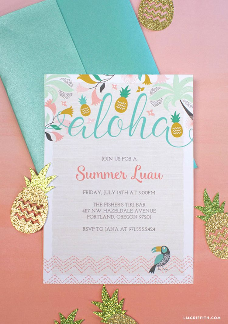 Hawaiian Luau Birthday Party Invitation Invite Watercolor Flowers ...