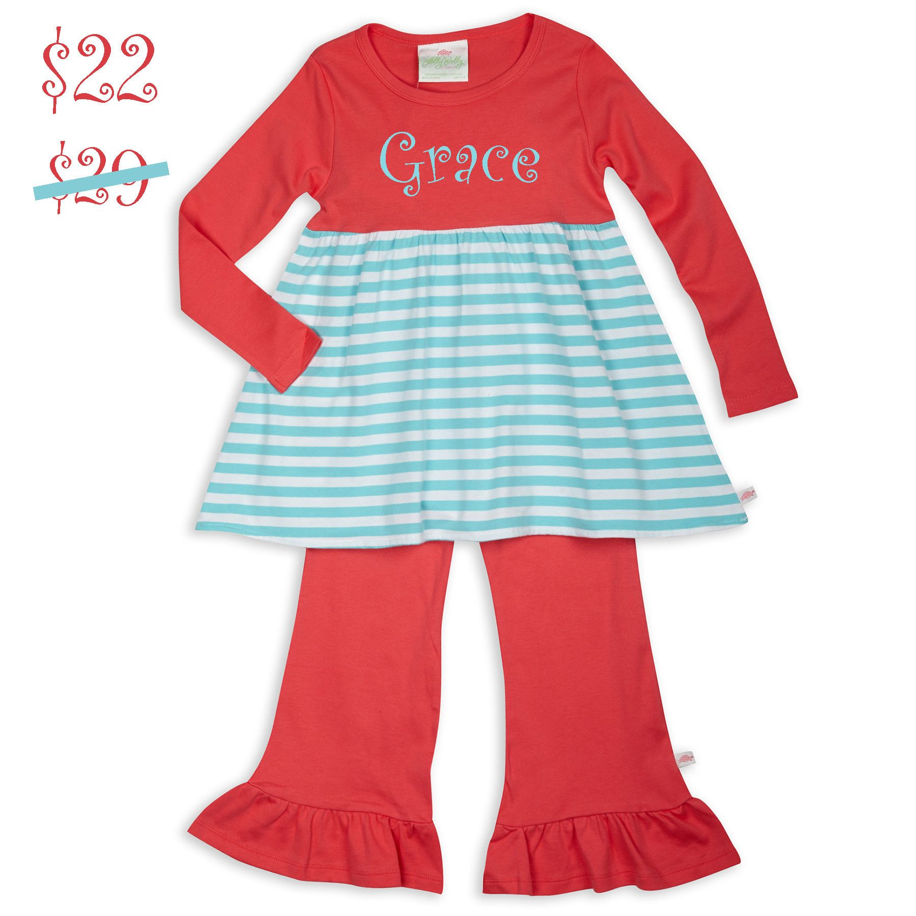 Swoon! Love this Coral Aqua Stripe Empire Cotton Ruffle Pant Set I discovered at lollywollydoodle.com and for only $22! Click the image above to get a $5 off coupon code for your next order!