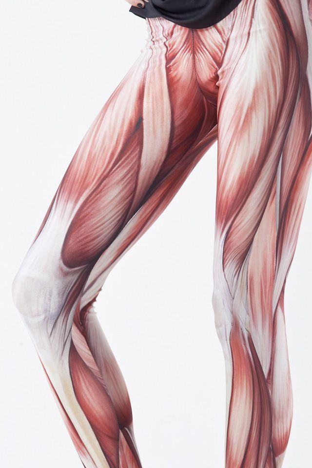 muscle leggings, exposed leg muscle flesh fashion leggings - icky, Muscles