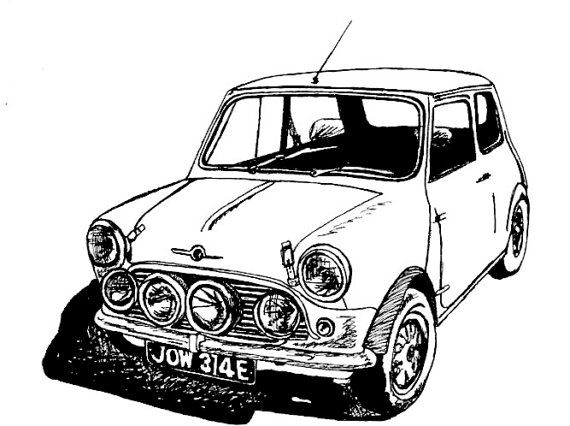 Classic MINI Cooper Sports Car Drawing Print by