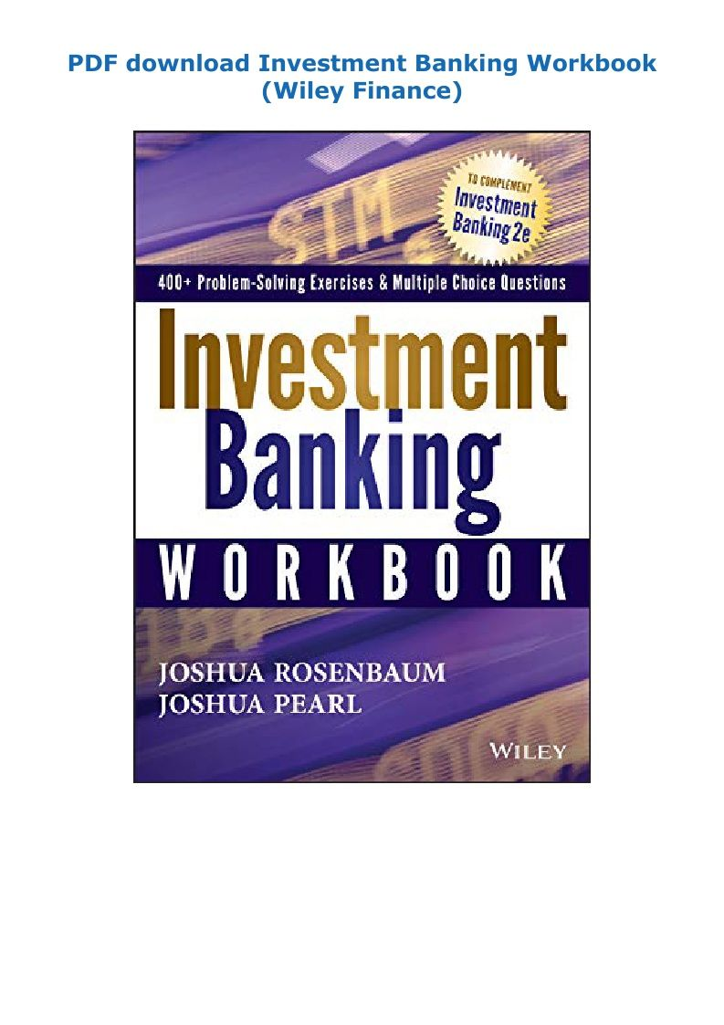 Pdf Download Investment Banking Workbook Wiley Finance Ebook