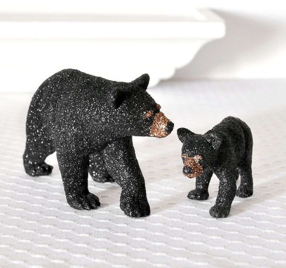black bears mom and baby cub glitter table decoration for woodland