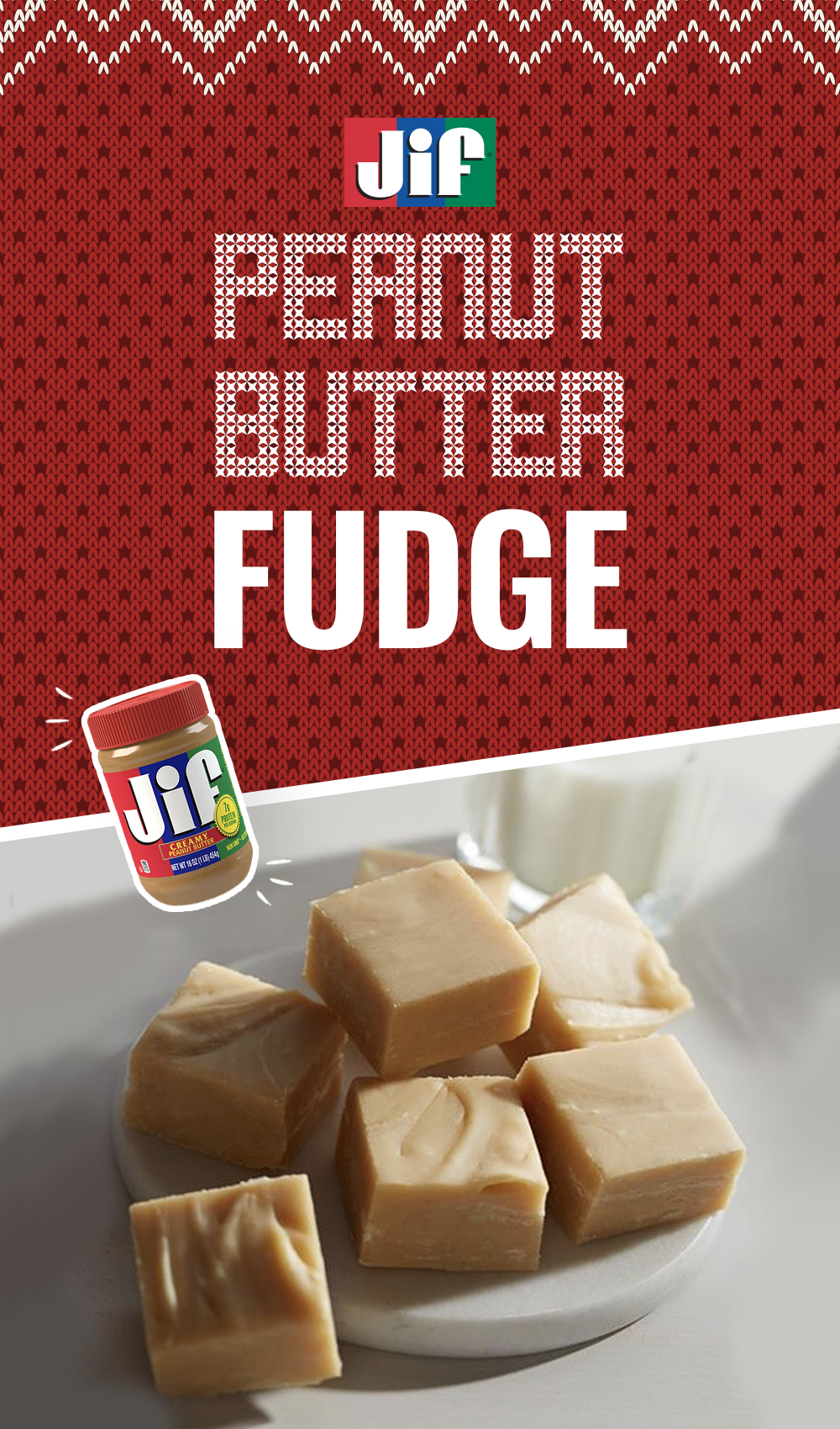 Whip up delicious peanut butter fudge this holiday. It's a seasonal favorite made with creamy Jif Peanut Butter, sugar, butter, evaporated milk, marshmallow creme and vanilla extract. It makes a great gift or addition to your holiday dessert table. It's only 12 minutes to prep and 10 minutes to cook. Get the recipe for this holiday treat now. #peanutbutterfudge