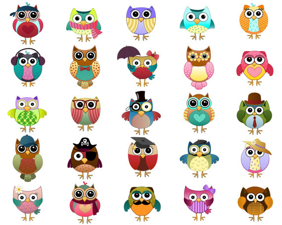 Cute Owl Characters Clip Art Set Of 25 Hand Drawn 300 Dpi Etsy How To Draw Hands Clip Art Owl Clip Art