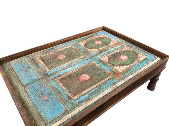antique indian blue coffee table hand carvedmogulgallery
