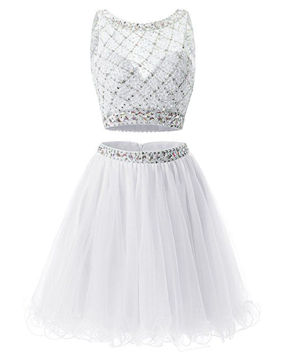 059590617a3 Bridesmay Short Tulle Homecoming Dress Beaded Two Piece Cocktail Dress  White Size 4