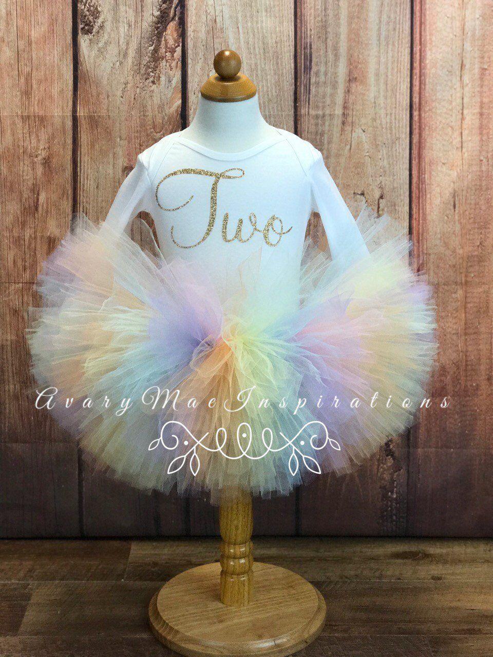 Unicorn 2nd Birthday Outfit Girls , Pastel Rainbow Girls