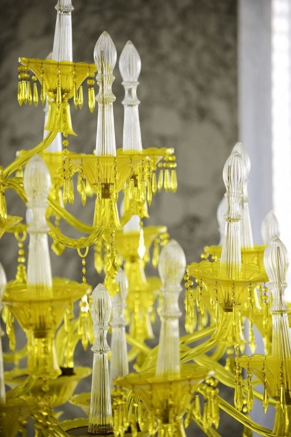 Bold decor idea yellow chandelier against black walls and white this modern spa space at the luxurious viceroy miami hotel in south florida is as hot as the weather a bold blend of black white and yellow welcomes gues aloadofball Image collections