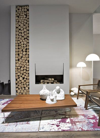Fireplace Wall Flush Wall With Glass Tile And Metal: Love The Inverted Flush Surround
