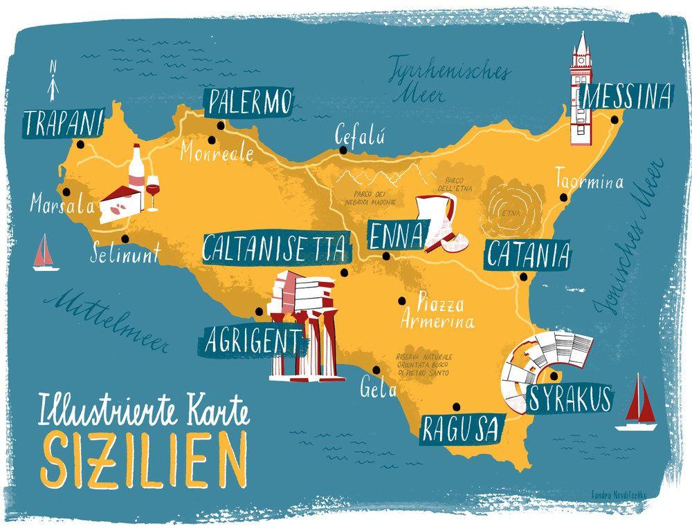 Illustrierte Karte Sizilien Sizilien Illustration Design